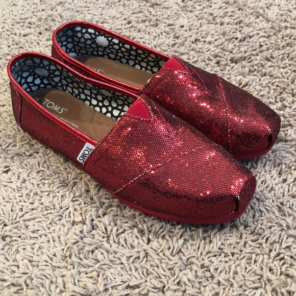 Toms Shoes   Red Sparkly Toms   Poshmark